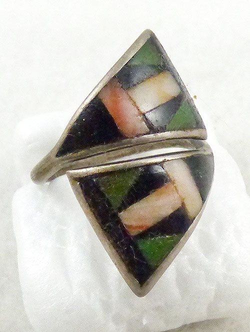 Ethnic & Boho - Native American Triangle Bypass Inlay Ring