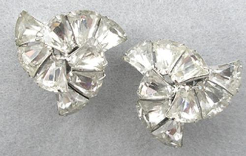 Eisenberg - Eisenberg Tapered Baquette Rhinestone Earrings