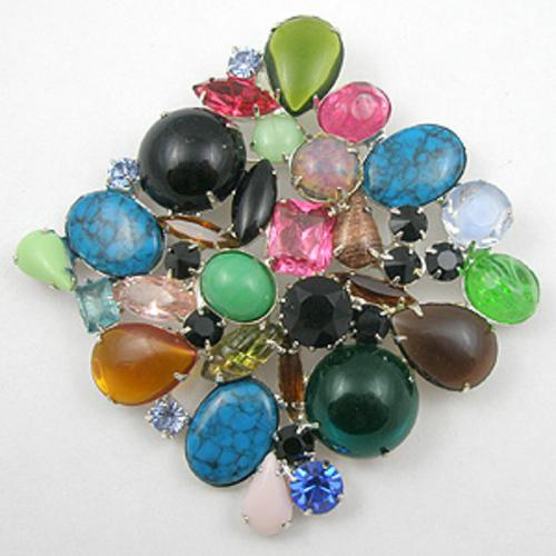 Brooches - Colorful Glass Cabochon & Rhinestone Brooch