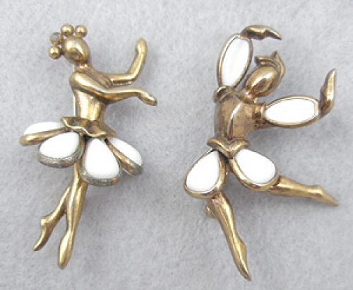 Figural Jewelry - People & Hands - Trifari Petalette Dancer Scatter Pins