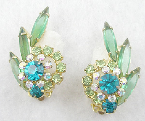 Earrings - DeLizza & Elster Aqua & Green Rhinestone Earrings