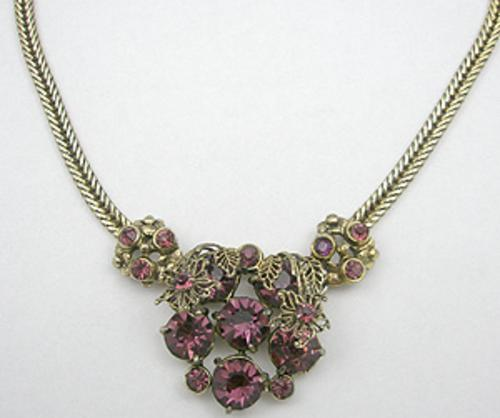 Necklaces - Selro Amethyst Rhinestone Necklace