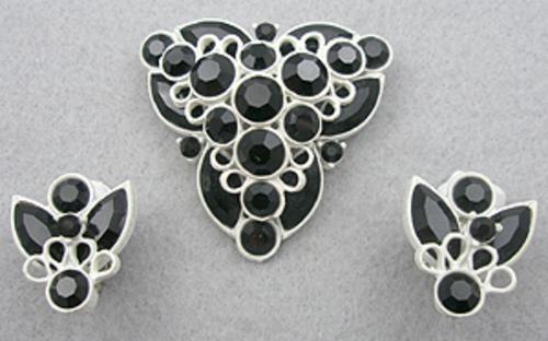 Sets & Parures - White Japanned Black Rhinestone  Brooch Set