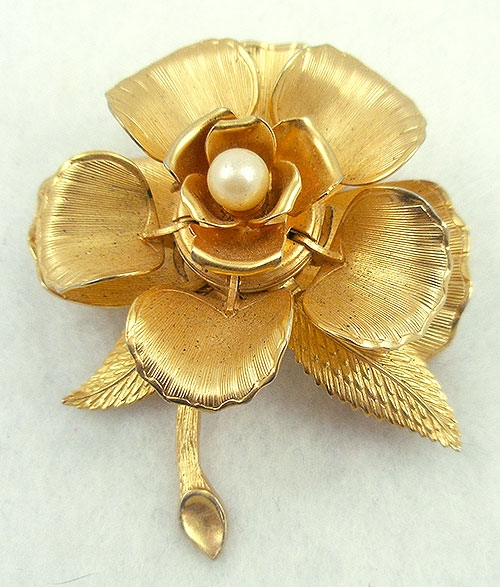 Brooches - Vintage Day/Night Mechanical Flower Brooch