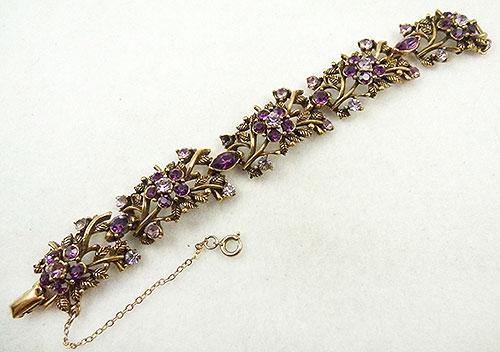 Coro/Corocraft - Coro Amethyst Rhinestone Flowers Bracelet
