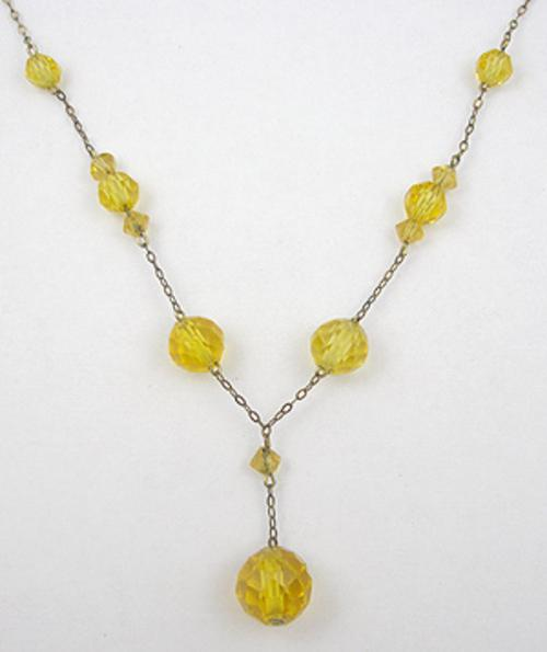 Necklaces - Golden Topaz Glass Bead Necklace