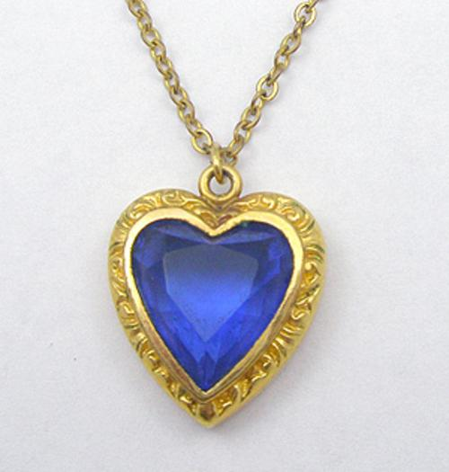 End of Year Sale! 30-50% OFF - Sapphire Glass Heart Pendant