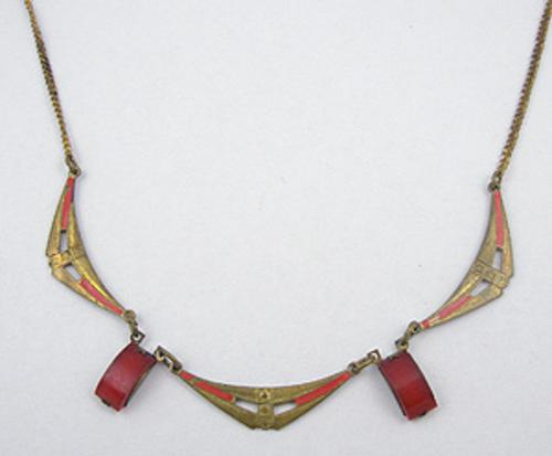 Necklaces - Art Deco Red Glass & Brass Necklace