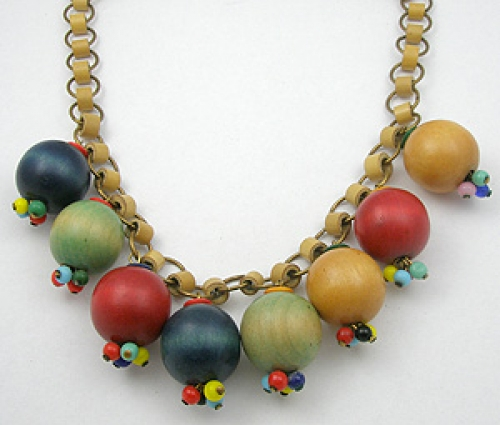Wooden Jewelry - Miriam Haskell Wood Bead Necklace