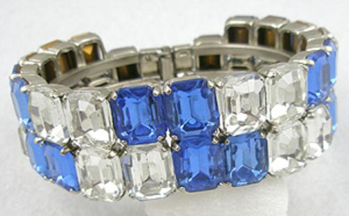 Newly Added Blue/Clear Rhinsetone Clamper Bracelet