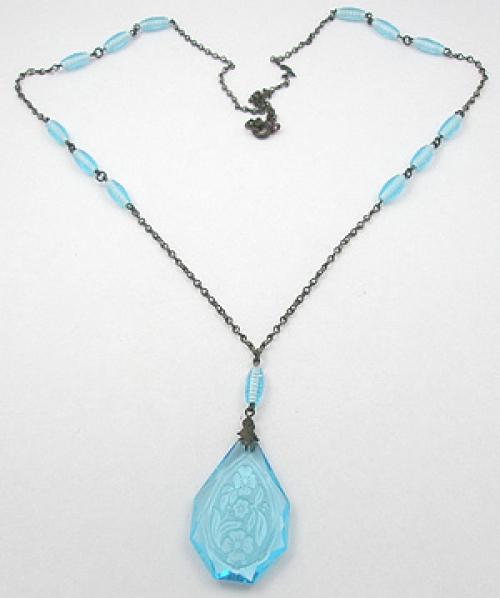 Necklaces - Art Deco Aqua Cut Glass Necklace