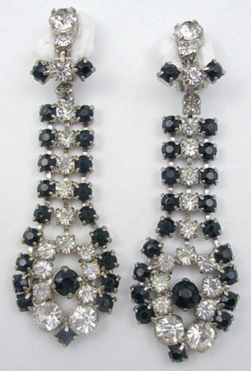 Earrings - Black & Clear Rhinestone Earrings