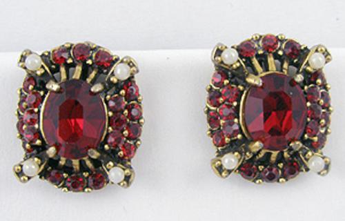 Earrings - Hollycraft Red Rhinestone Earrings