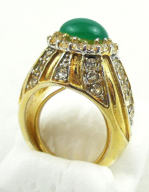 Misc. Signed A-F - Cellini Jade Glass & Rhinestone Costume Ring