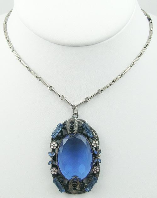 Necklaces - Czech Blue Glass Enameled Flowers Necklace