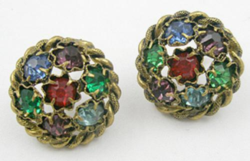 Czechoslovakia - Czech Rhinestone Gems Earrings