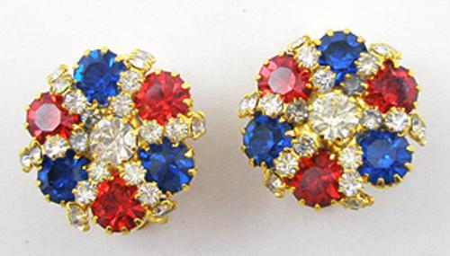 Patriotic Jewelry - Patriotic Rhinestone Earrings
