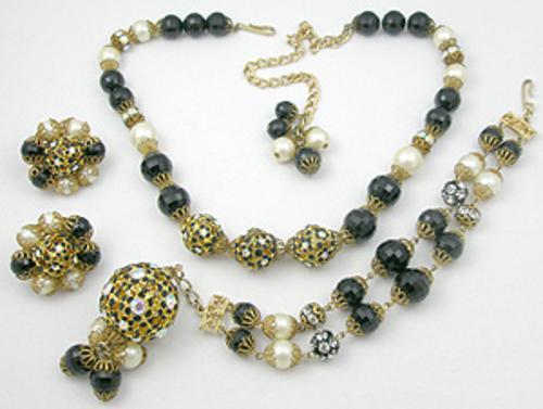 Hobé - Hobe' Black Enamel Filigree Bead & Pearl Parure