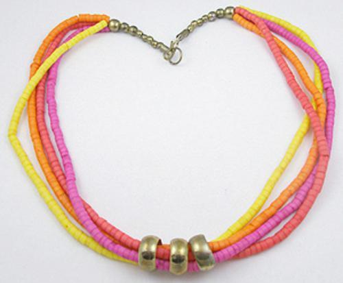 Ethnic & Boho - Neon Pink, Yellow, Orange Heishi Bead Necklace