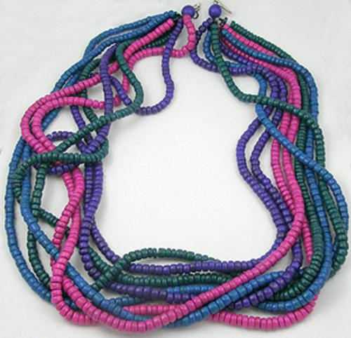 Necklaces - 8-Strand Resin Bead Necklace