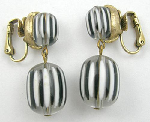 Newly Added Black & White Striped Lucite Earrings