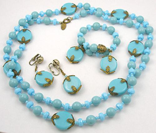 Sets & Parures - Miriam Haskell Turquoise Glass Bead Parure