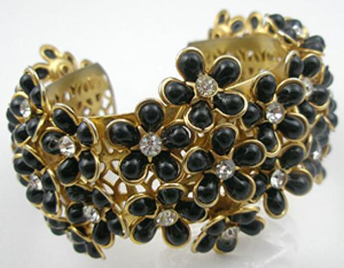 Newly Added Black Flowers Cuff Bracelet