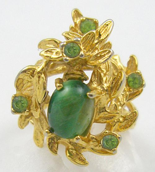 Rings - Green Glass Cabochon 18KT HGE Leafy Ring