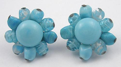 Earrings - Aqua Glass Bead Earrings