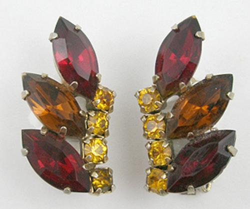 Earrings - Red and Topaz Rhinestone Earrings