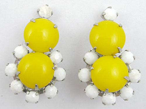 Summer Hot Colors Jewelry - Yellow Glass Cabochon Earrings