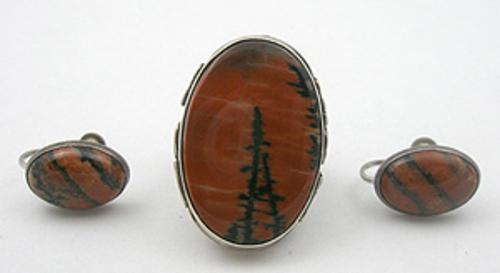 Semi-Precious Gems - Petrified Wood Agate Sterling Ring  & Earrings Set