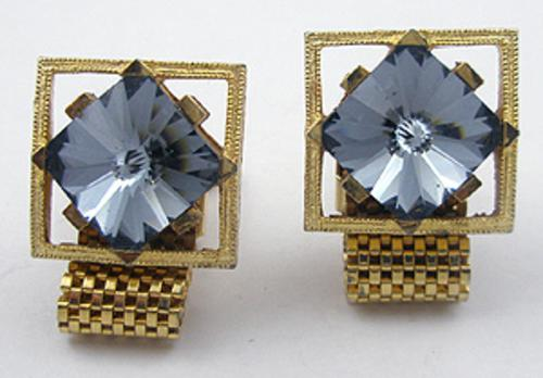 Men's Jewelry - Gold Tone Mesh Rivoli Cufflinks