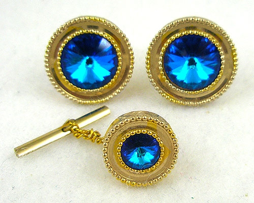 Men's Jewelry - Vintage Blue Rivoli Cufflinks and Tie Tac Set