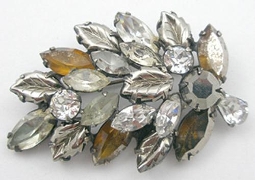 Brooches - Regency Topaz & Hematite Rhinestone Leaf Brooch