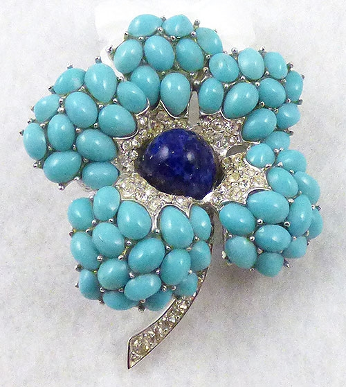 Brooches - Boucher Aqua Cabochon Flower Brooch