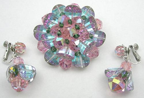 Sets & Parures - Vendome Crystal Brooch and Earrings Set