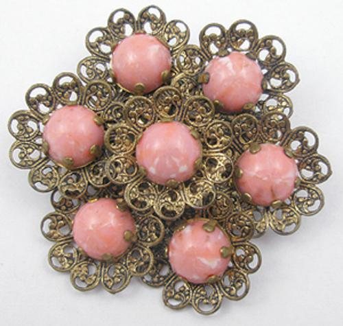 Newly Added Brass Filigree Coral Glass Cab Brooch