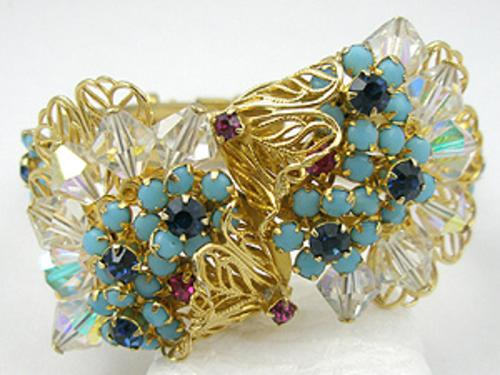 Newly Added Turquoise Flowers Hinged Bracelet