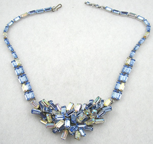Misc. Signed S-Z - Schoffel Rhinestone Baguette Necklace