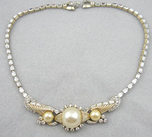 Bridal, Wedding, Special Occasion - Mazer Mabe Pearl & Rhinestone Necklace