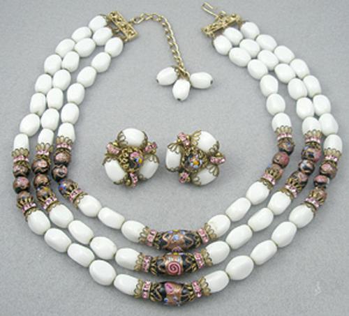 Sets & Parures - Hobé White Glass Bead Necklace Set