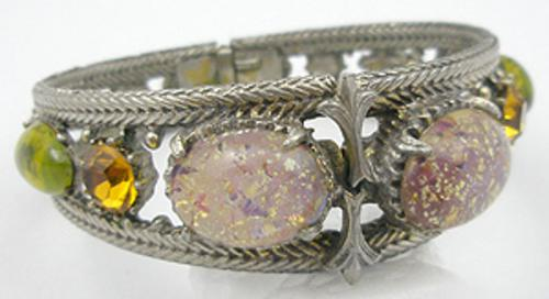Bracelets - Florenza Art Glass Hinged Bracelet
