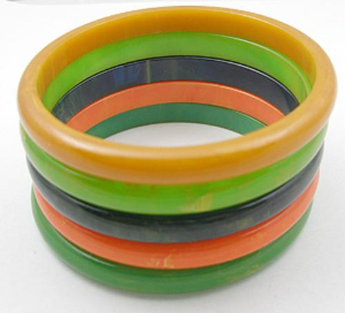 Newly Added Stack of Five Bakelite Spacer Bracelets