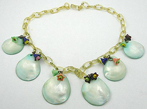 Necklaces - Seashells on Celluloid Chain Necklace