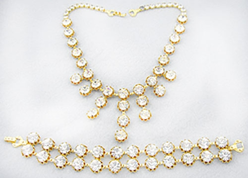 Sets & Parures - Rhinestone Bib Necklace and Bracelet Demi Parure