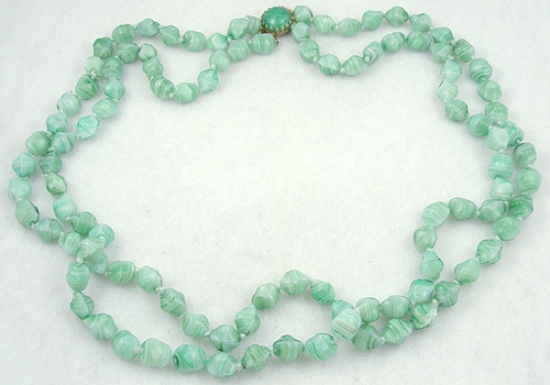 Necklaces - Green Art Glass Bead Necklace