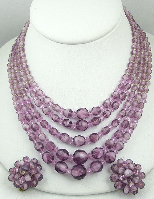 Hong Kong - West Germany Orchid Glass Bead Necklace Set