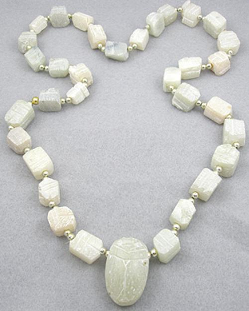 Ethnic & Boho - White Stone Scarab Necklace