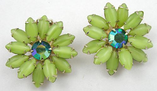 Earrings - Weiss Green Flower Earrings